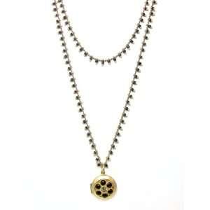 Double Strand Beaded Fringe Locket Pendant Necklace with Black Enamel