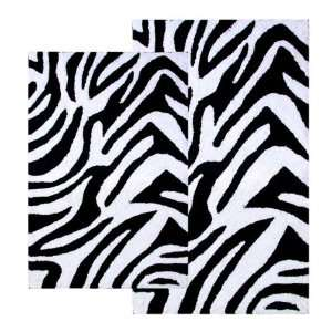 Animal Print Collection Black And White Zebra 2 Piece Bathroom Rug
