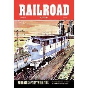 Vintage Art Railroad Magazine Railroads of the Twin