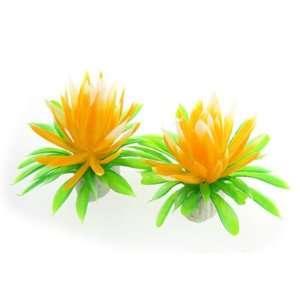 Como 2 Pcs Fish Tank Green Leaves Orange Water Lily Flower