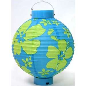 Blue/Green Hibiscus 8 Battery Operated Paper Lantern