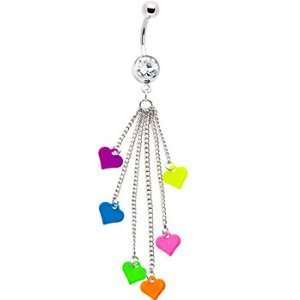 Multi Chain Drop Neon Hearts Belly Ring Jewelry