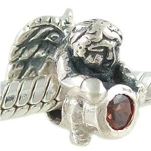 January Birthstone 925 Silver Angel Bead Charm Arts, Crafts & Sewing