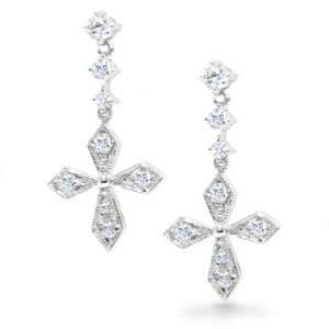 Bling Jewelry Sterling Silver Classic CZ Pave Cross Earrings [Jewelry