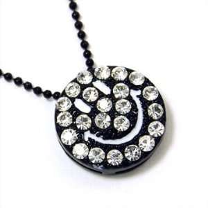 ICED Black Smiley Face BLING Charm Necklace Jewelry