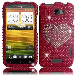 Hot Pink Heart Full Diamond Bling Case Cover for AT&T HTC