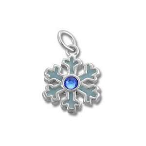 Blue Sterling Silver Snowflake Charm Pendant for Necklace