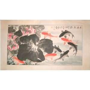 Orange and Black Koi fish   chinese watercolor