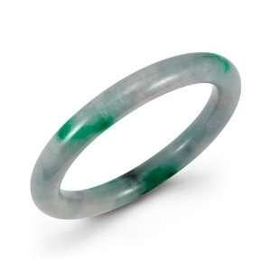 Polished Full Round Natural Green Jade Bangle Bracelet Jewelry