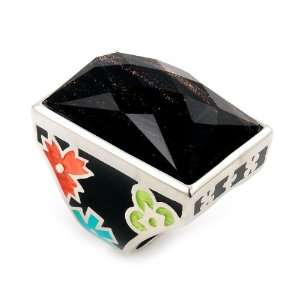 Ring With Brown Crystal Rectangular Stone, Size 8 Alan K. Jewelry
