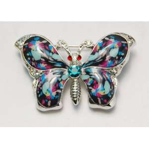 Enamel Gloss Painted 1980s Neon Colorful Butterfly Crystal Pin Brooch