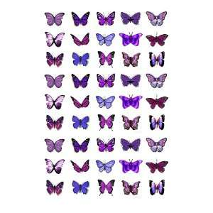 45x Purple Butterflies Edible Cake Toppers (Birthday Cupcake Topper by