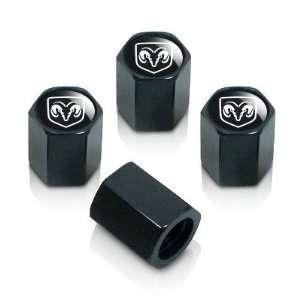 Dodge Silver Logo Black Tire Stem Valve Caps Automotive