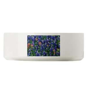 Large Dog Cat Food Water Bowl Texas Bluebonnets
