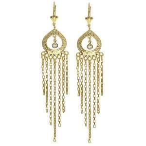 CRYSTAL CHAIN SWAG DANGLE GOLD FILLED EARRINGS 3 3/4