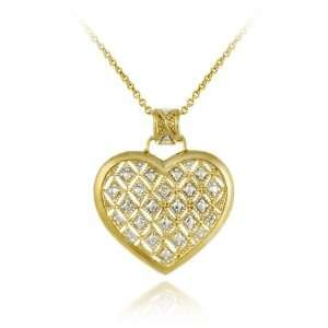 Silver Champagne Diamond Accent Quilted Heart Pendant Jewelry