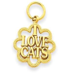 I Love Cats Charm in 14k Yellow Gold Jewelry