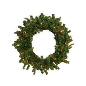Fir Pre Lit Artificial Christmas Wreath   Clear Lights
