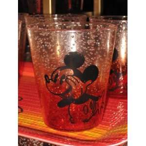 Disney Mickey Mouse Red Plastic Bubbly Small Glass