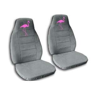 side and passenger side. Steel grey seat covers with a pink flamingo