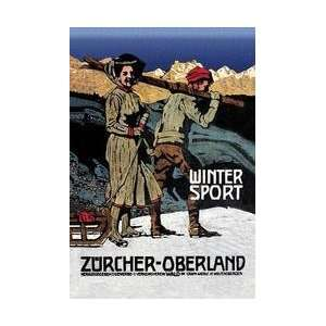 Winter Sport Cross Country Skiing 12x18 Giclee on canvas