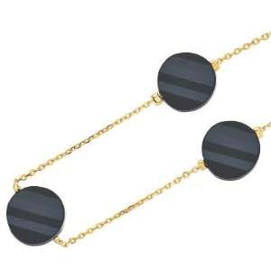 Gold Plated Black Cubic Zirconia Disc Chain Necklace   Length 40 cm