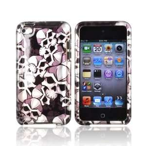 For Apple iPod Touch 4 Hard Case Cover SILVER Skulls