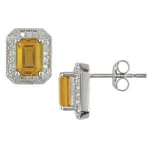 White Gold 1/5 ctw Diamond and Emerald Cut Citrine Earrings Jewelry