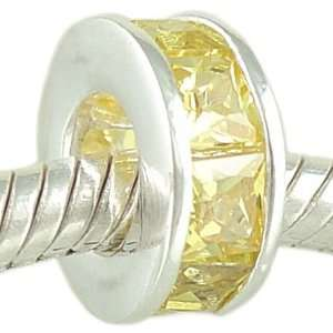 Princess Cut Citrine Yellow CZ 925 Sterling Silver Bead fits European