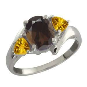 Brown Smoky Quartz and Yellow Citrine Sterling Silver Ring Jewelry