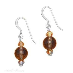 Sterling Silver Faceted Smoky Quartz Ball Earrings Smoky