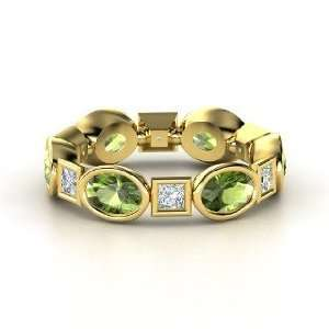 Band, 14K Yellow Gold Ring with Green Tourmaline & Diamond Jewelry