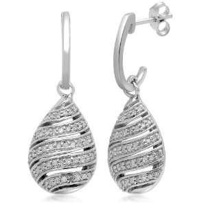 Sterling Silver Diamond Open Drop Earrings (1/3 cttw, I J Color, I2 I3