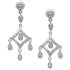 14K White Gold Diamond Drop Earrings (3/4Cttw, SI Clarity