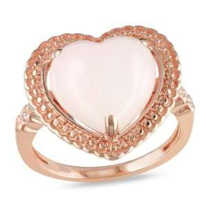 Sterling Silver Pink Opal and Diamond Heart Ring, (.03 cttw, G H Color