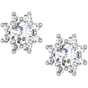 Genuine Ibiza (TM) 14K White Gold Earrings. Diamond