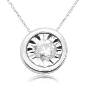 10k White Gold Diamond Solitaire Pendant (1/20 cttw, I J