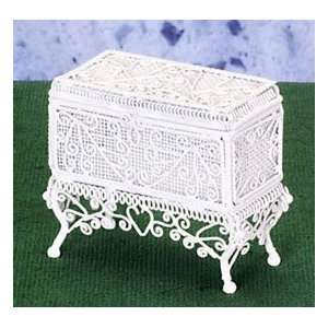 Dollhouse Miniature White Wire Chest
