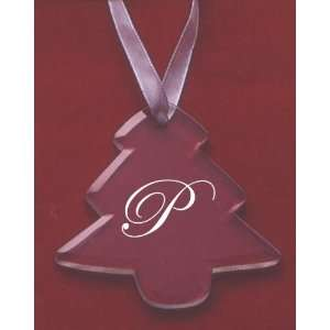 Glass Christmas Tree Ornament with the Letter P