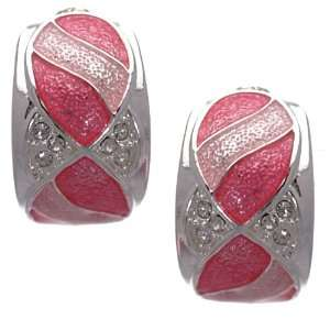 Ortensia Silver Pink Crystal Clip On Earrings Jewelry