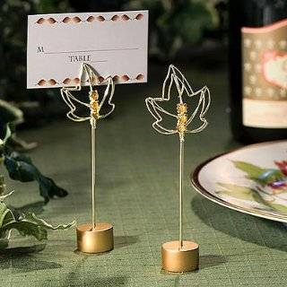 Autumn Maple and Oak Tin Leaf Place Card Holders   Package