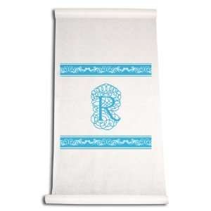 90 Feet by 36 Inch Aisle Runner, Fancy Font Letter R, White with Blue