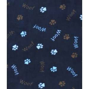 Dark Navy Woof Paws Fleece Fabric: Arts, Crafts & Sewing