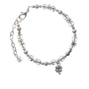 Mini Silver Four Leaf Clover Clear Czech Glass Beaded Charm Bracelet