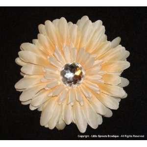 Gerbera Daisy Hair Clip   4   Ivory with Crystal Acrylic Center
