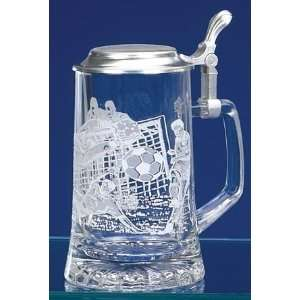 Soccer Etched German Glass Beer Stein Kitchen & Dining
