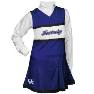 Girls Royal Blue White 2 Piece Turtleneck & Cheerleader Dress Set