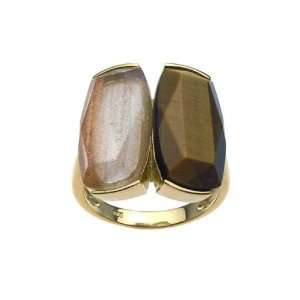Sterling Silver Two CZ Side By Side Gold Plated Ring Size 8 Jewelry