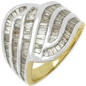 66 Carat 14K Gold Plated Genuine Diamond Accents Sterling Silver Ring