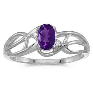 Gold February Birthstone Oval Amethyst And Diamond Curve Ring Jewelry